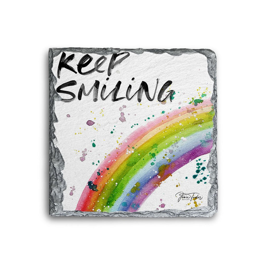 """Keep Smiling"" Rainbow Square Slate Coaster"