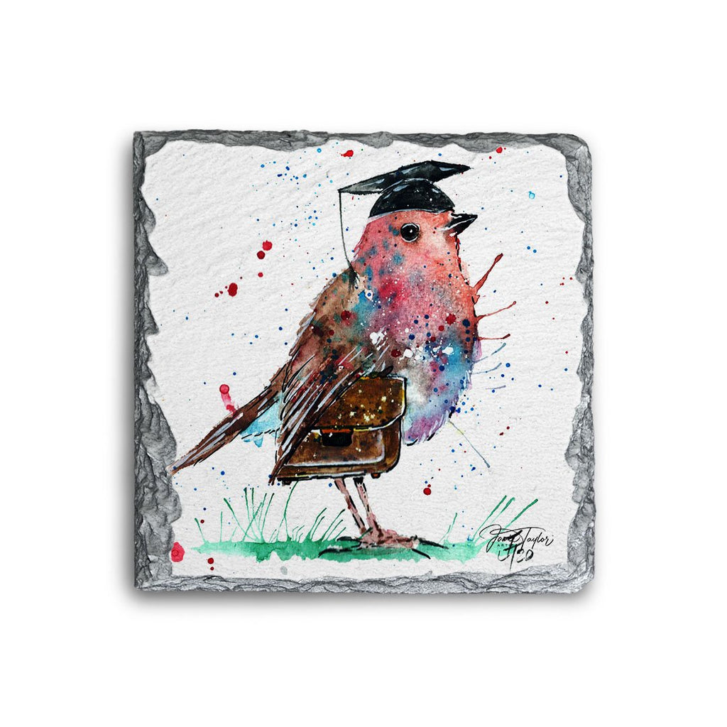 """Teach"" Robin Square Slate Coaster"