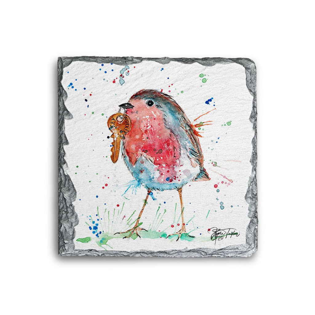 """Grateful"" Robin Square Slate Coaster"