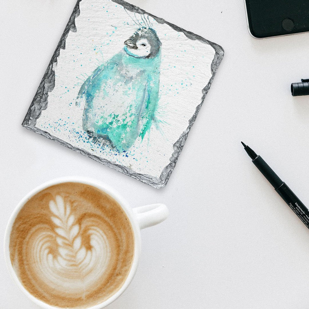 """Marv"" Penguin Square Slate Coaster"