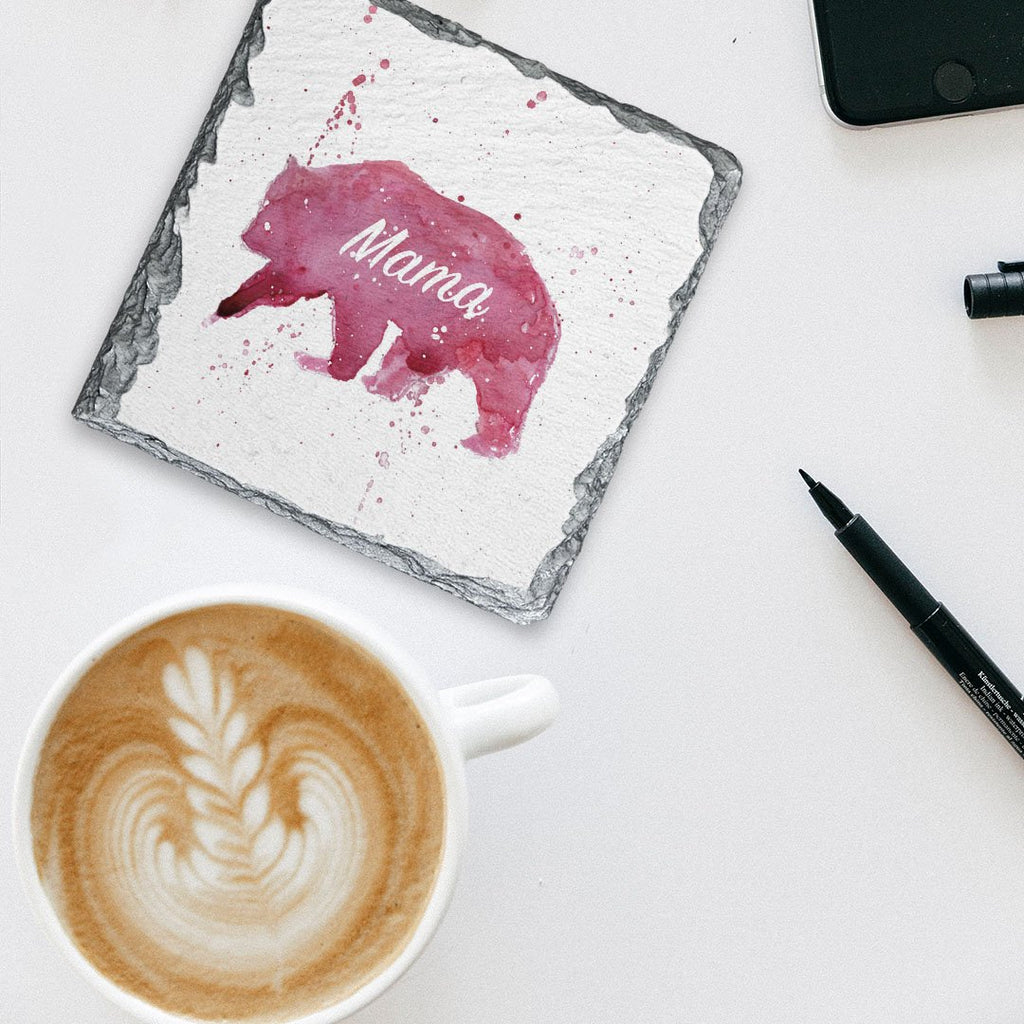 Mama Bear Square Slate Coaster