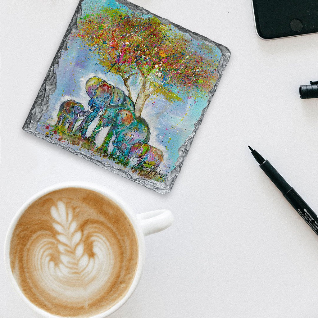 """Blessed"" Elephants Square Slate Coaster"