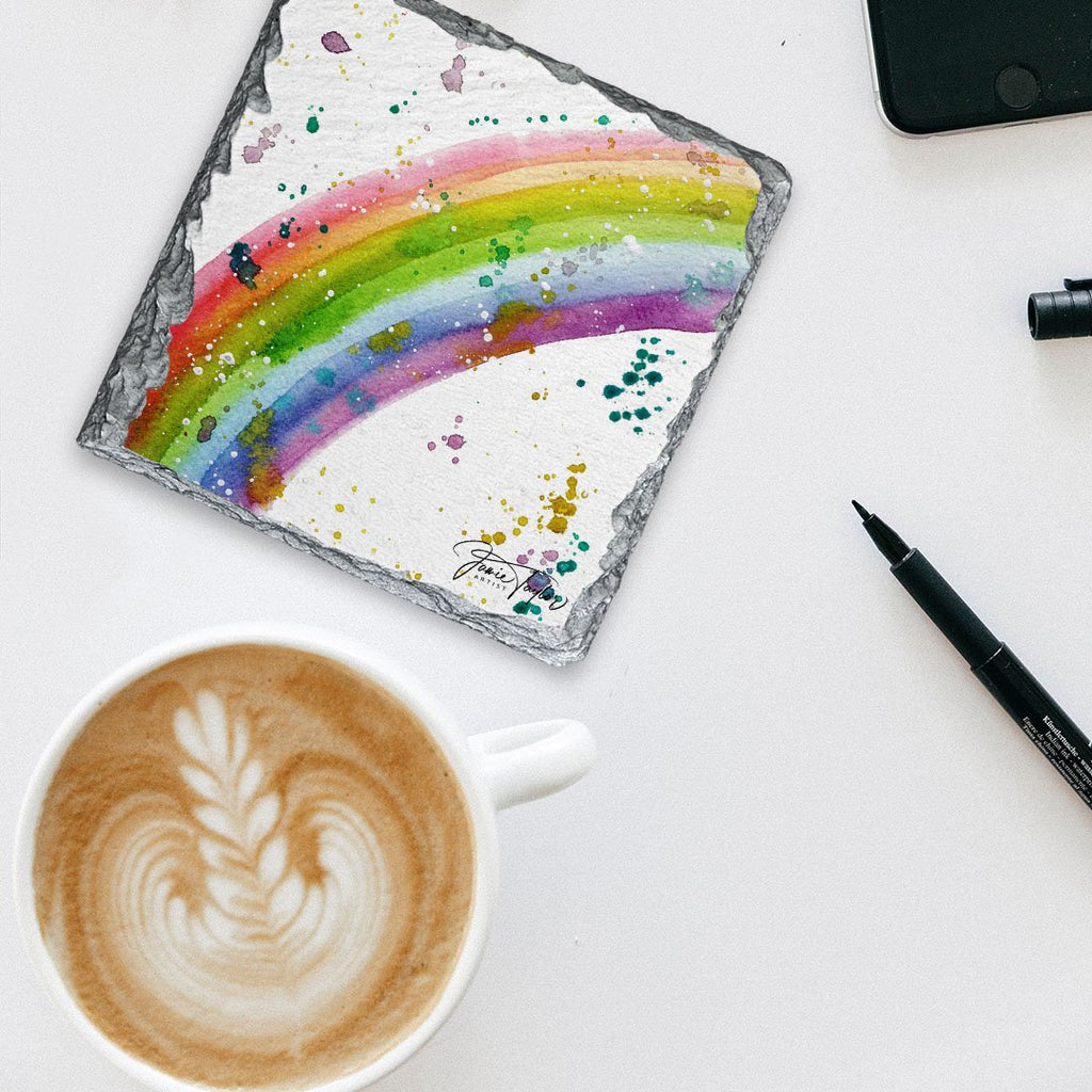 Rainbow Square Slate Coaster