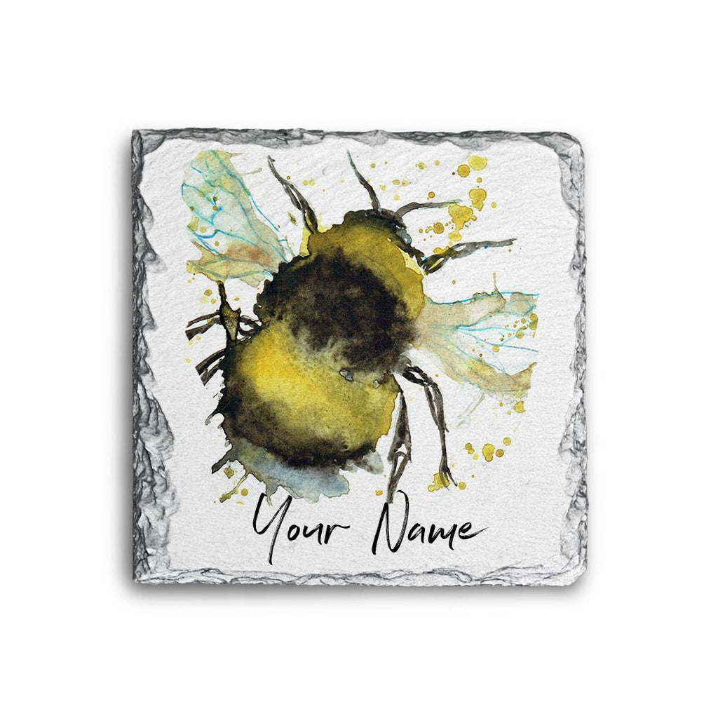 Bumble Bee Personalised Rock Slate Coaster
