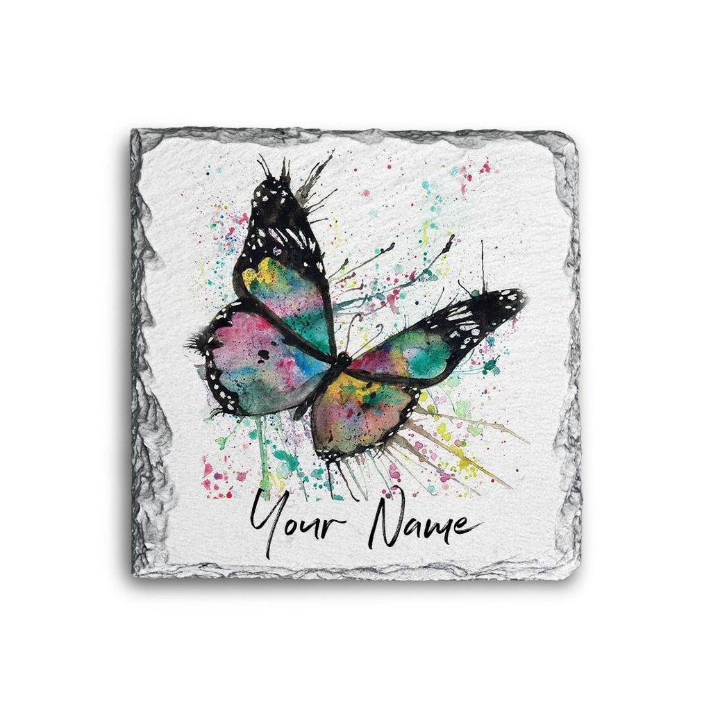 """Flutter"" Butterfly Personalised Rock Slate Coaster"