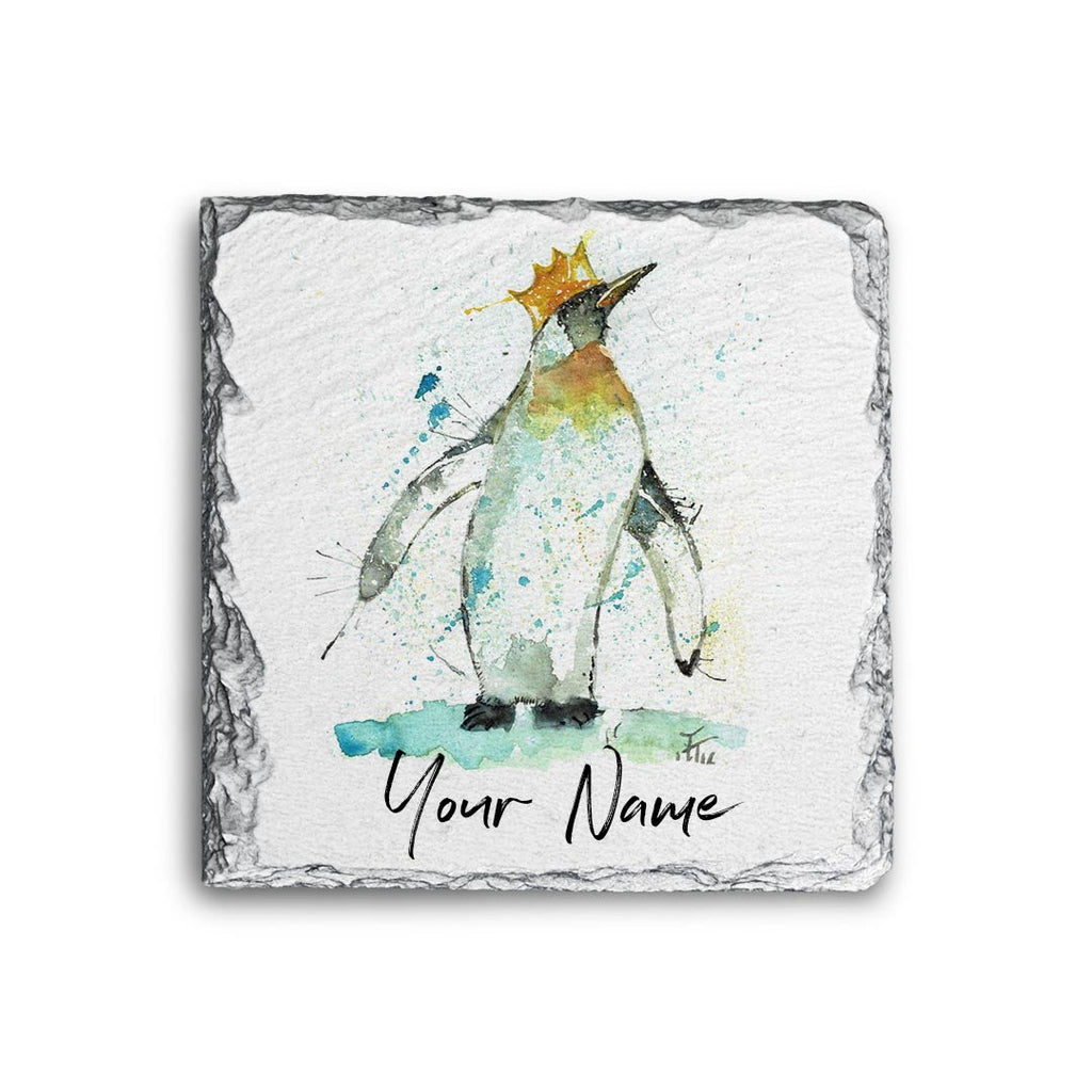 Party Penguin Personalised Rock Slate Coaster