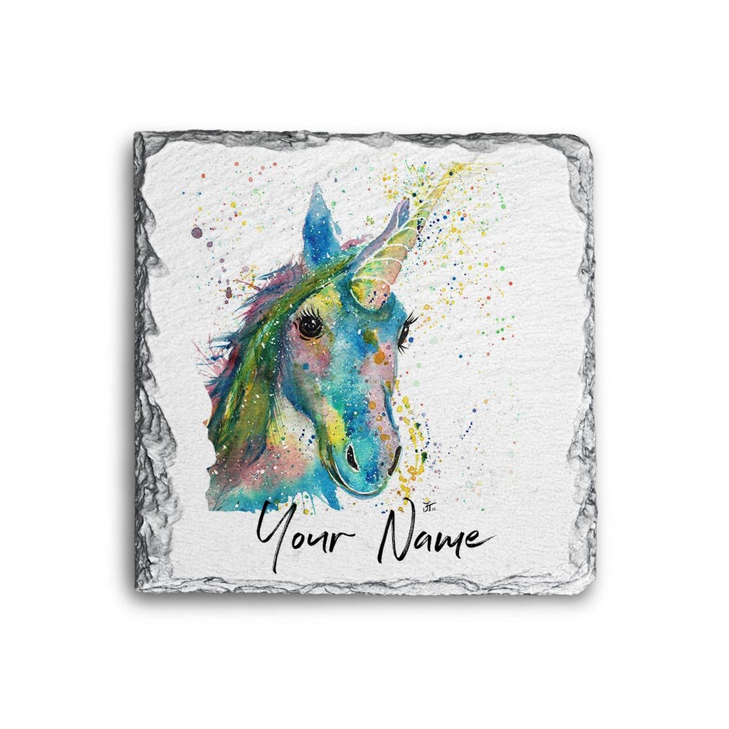 """Patty"" Unicorn Personalised Rock Slate Coaster"