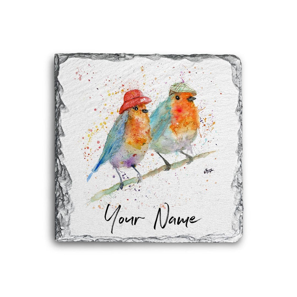 Mr & Mrs Robin Personalised Rock Slate Coaster