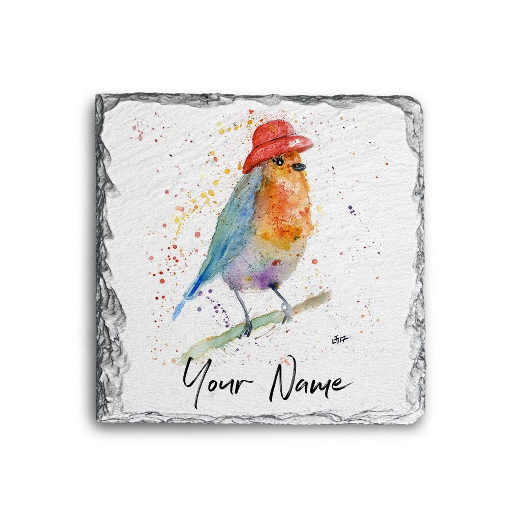 Mrs Robin Personalised Rock Slate Coaster