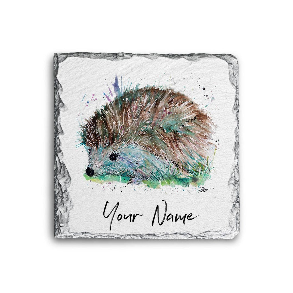 Sweet Hedgehog Personalised Rock Slate Coaster