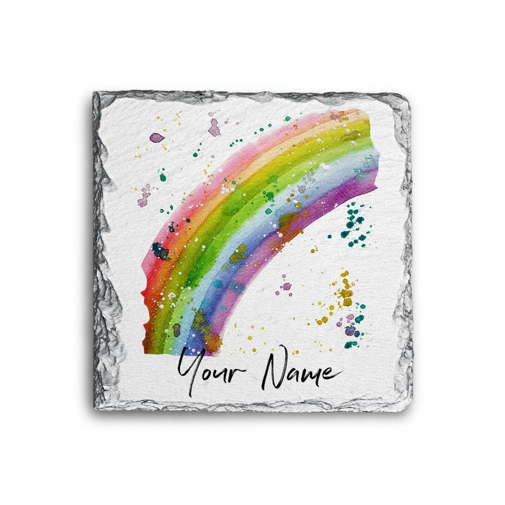 Rainbow Personalised Rock Slate Coaster