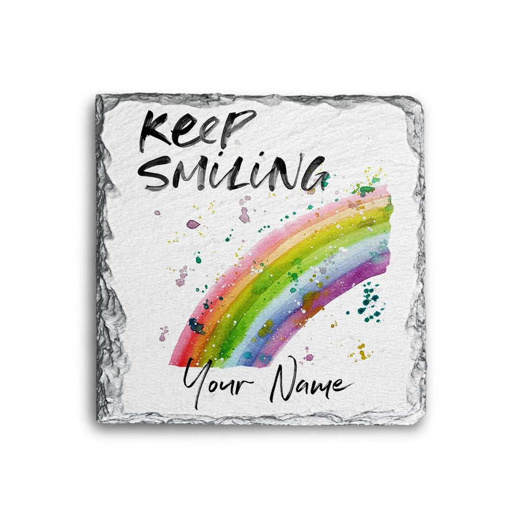 Keep Smiling Rainbow Personalised Rock Slate Coaster