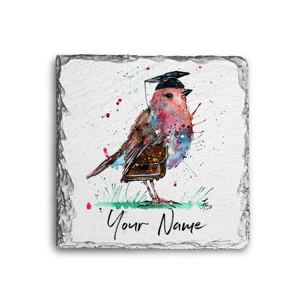 """Teach"" Teacher Robin Personalised Rock Slate Coaster"