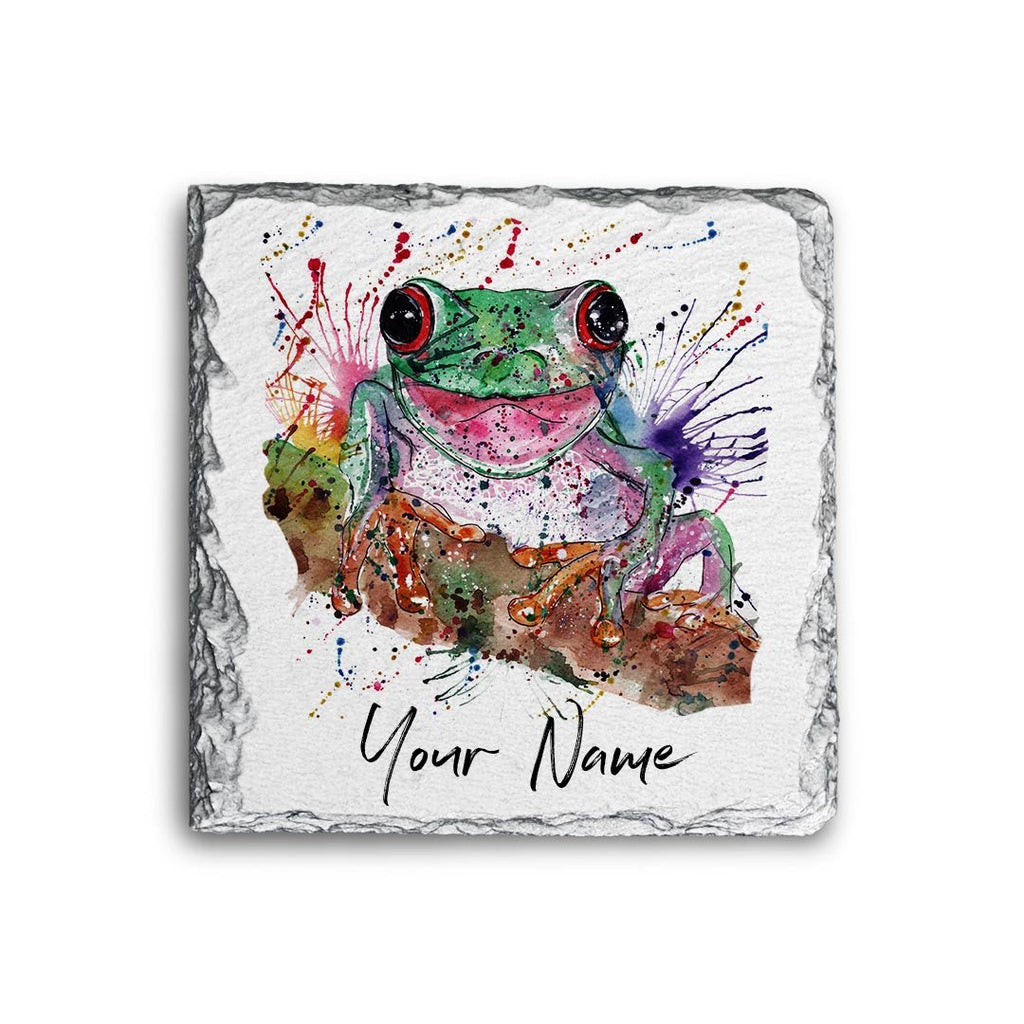 Chris the Frog Personalised Rock Slate Coaster