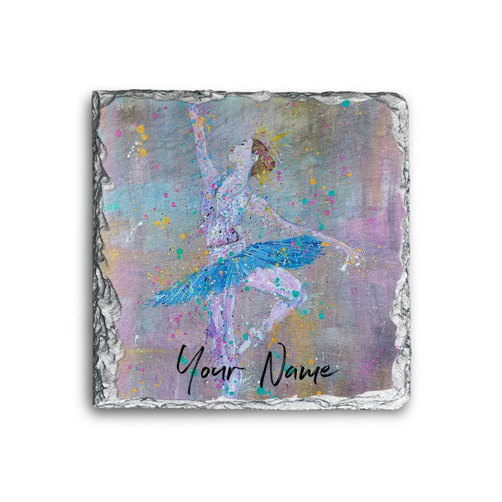 """Dainty"" Ballerina Personalised Rock Slate Coaster"