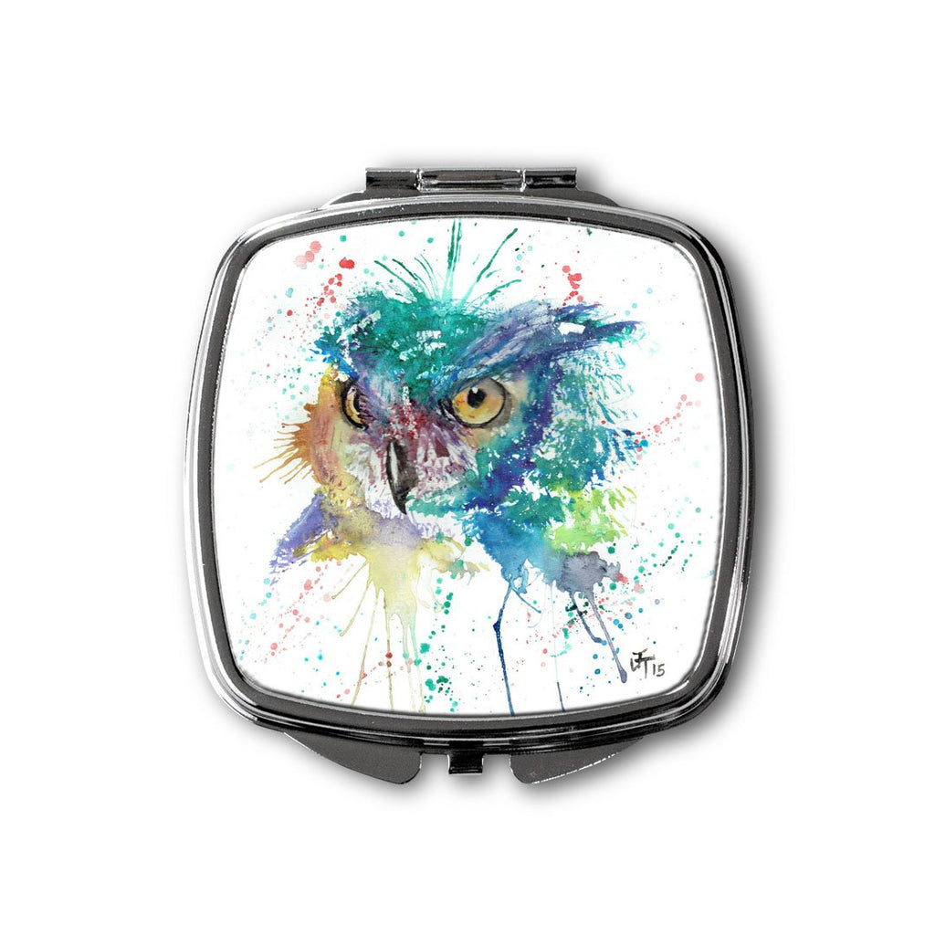 """Wise"" Owl Square Compact Mirror"