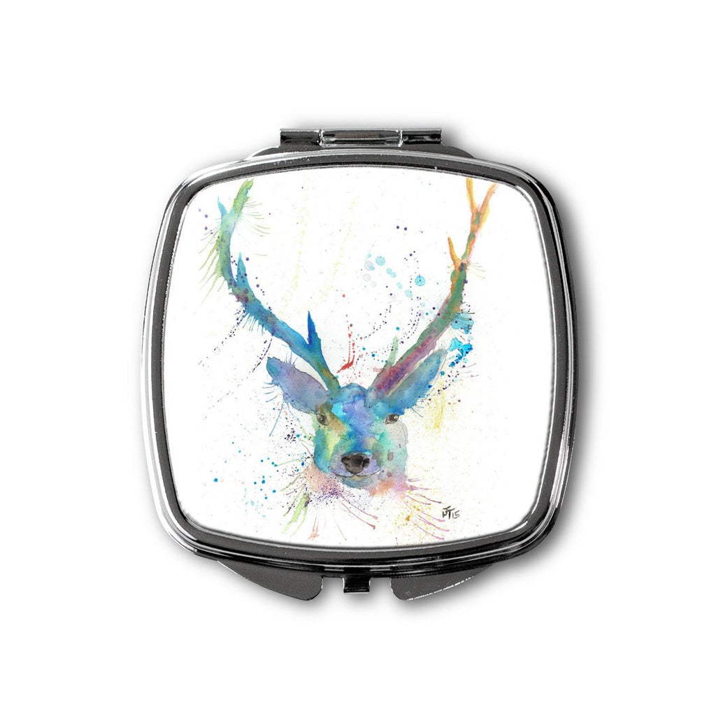"""Bruce"" Stag Square Compact Mirror"