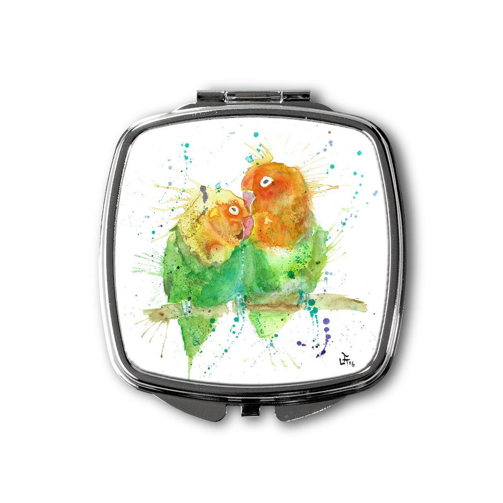 Love Birds Square Compact Mirror