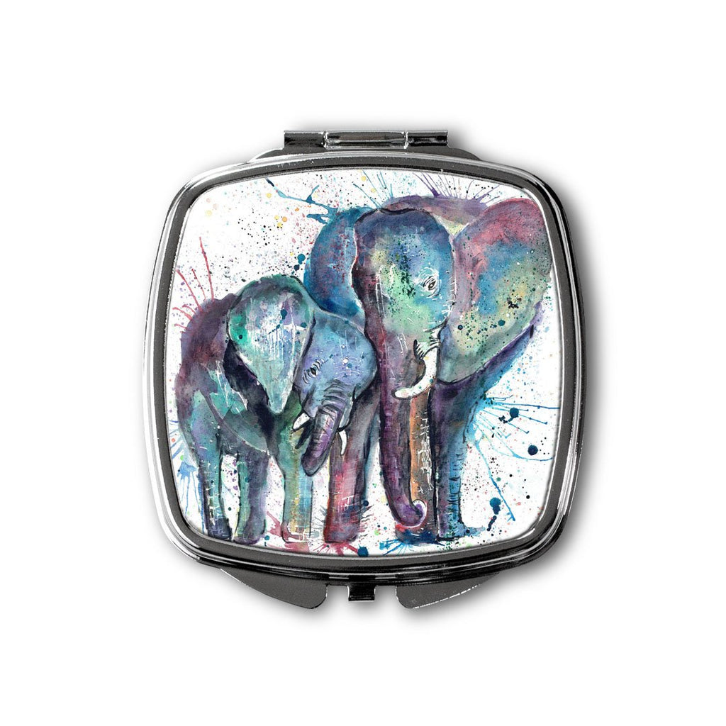 """Us"" Mummy & Babby Elephant Square Compact Mirror"