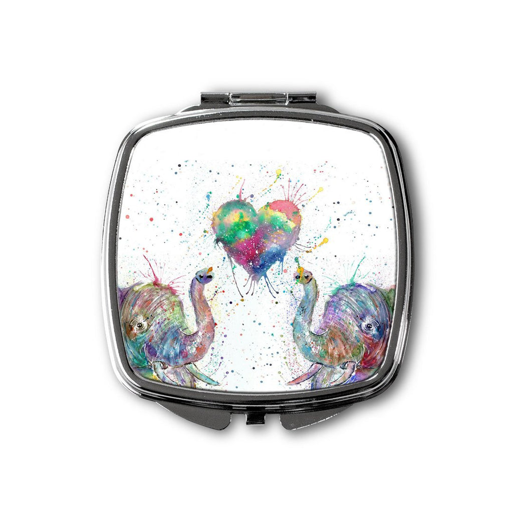 Romantic Elephants Square Compact Mirror