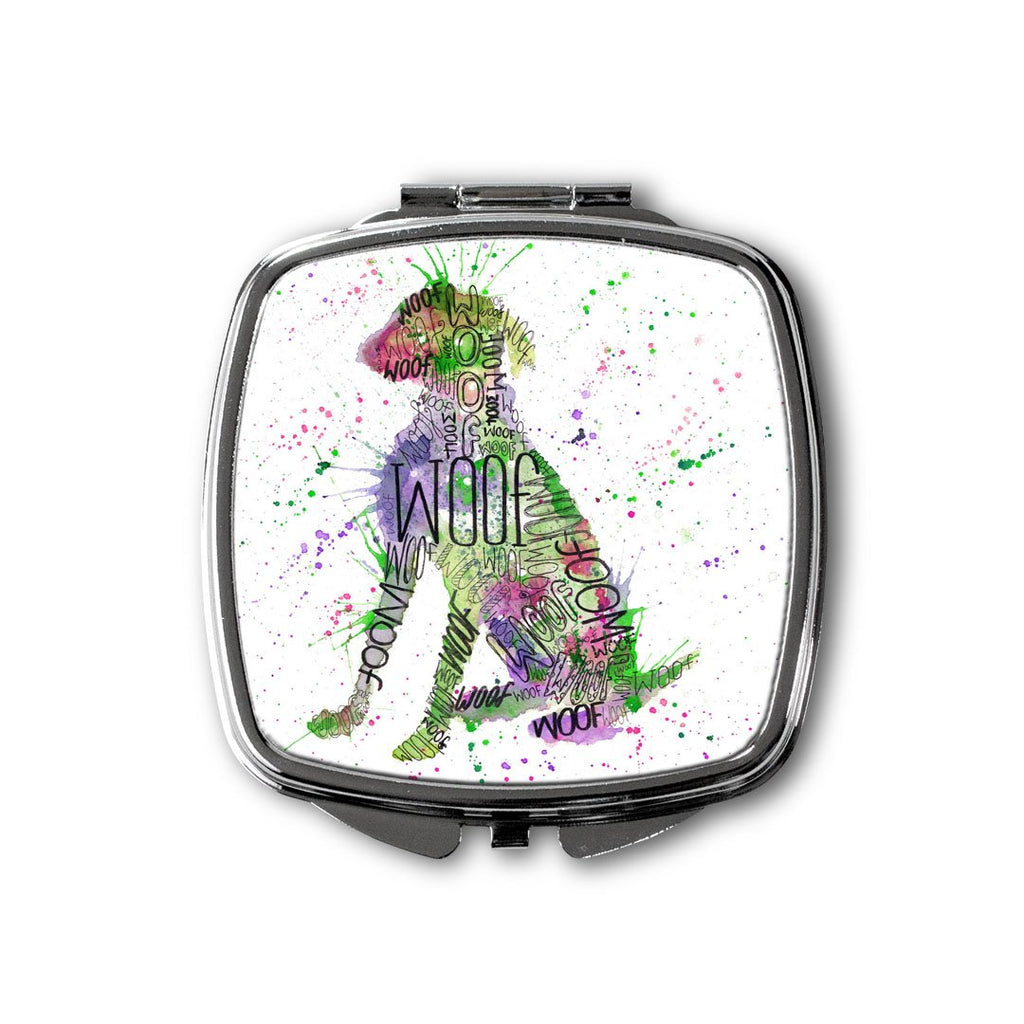 """Woof"" Green Square Compact Mirror"