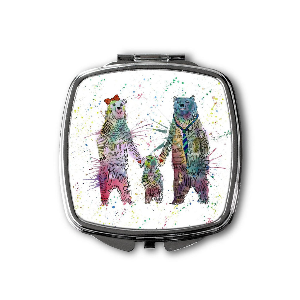Mummy, Babby, Daddy Bears Square Compact Mirror