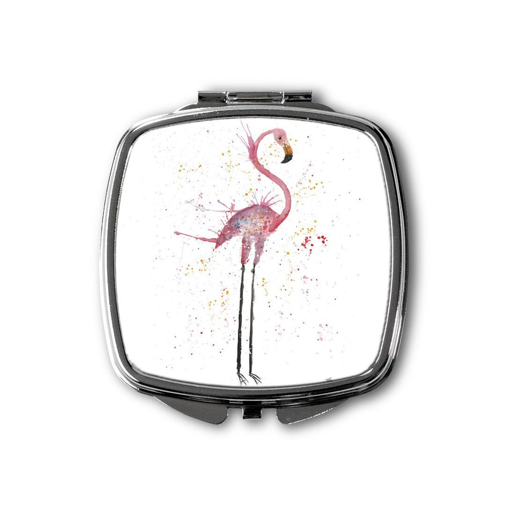 """Sheila"" Flamingo Square Compact Mirror"