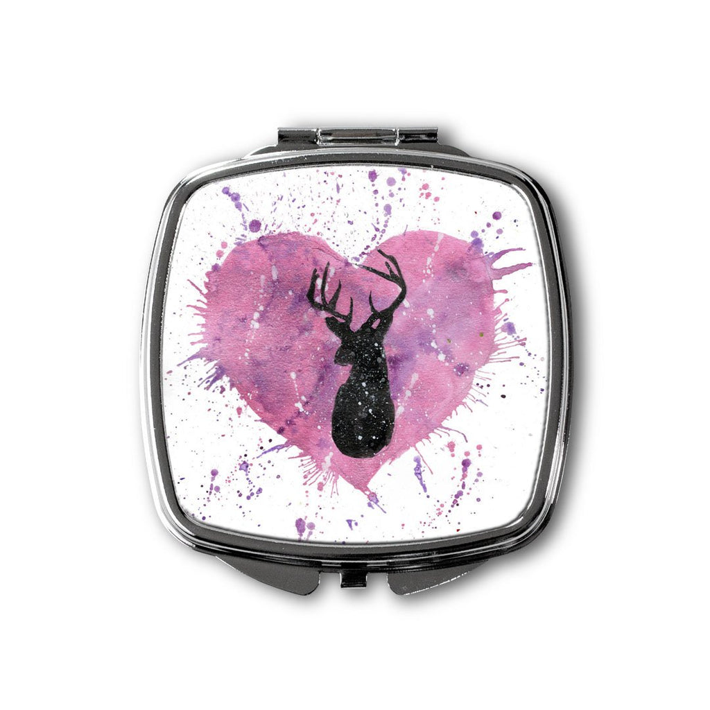 Stag Heart Square Compact Mirror