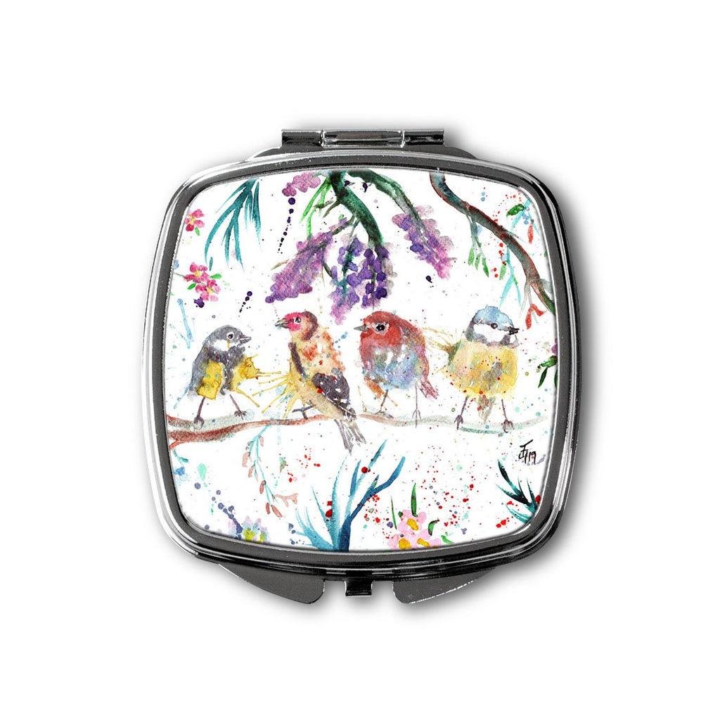 """Tree Friends"" Birds Square Compact Mirror"