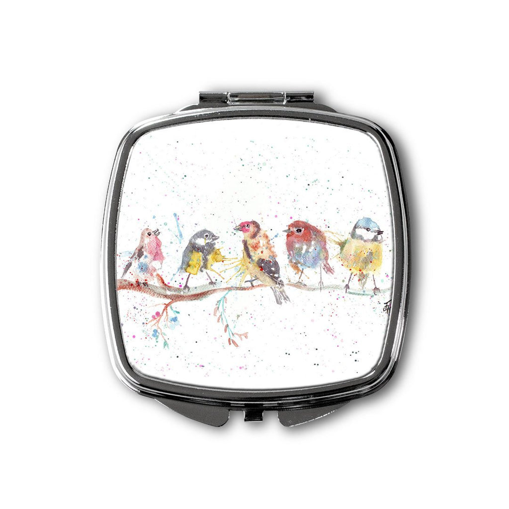 """Tree Friends"" Birds 2 Square Compact Mirror"