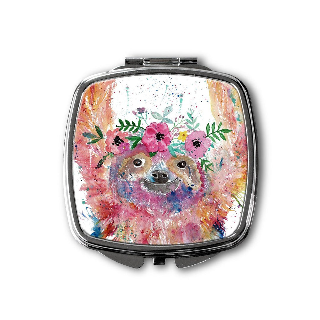 Hey Mrs Sloth Square Compact Mirror