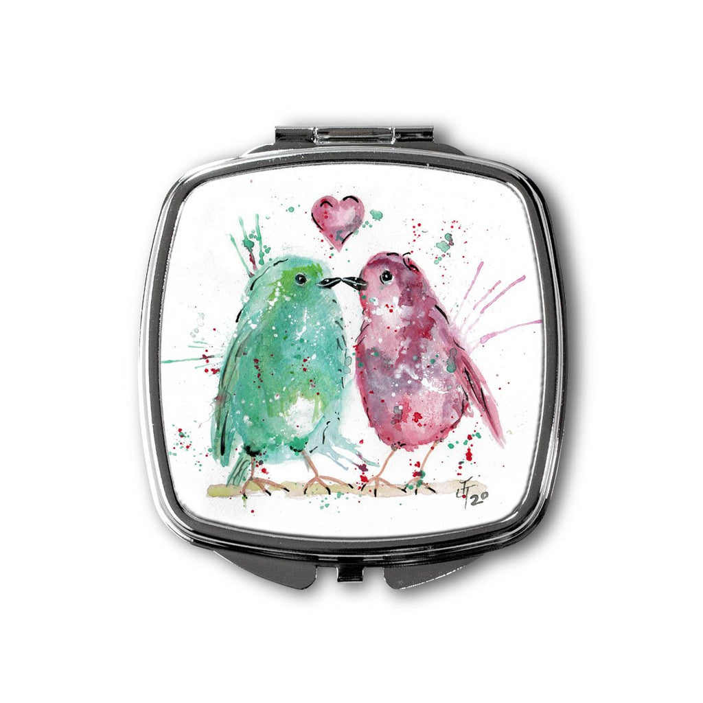 Tweet Heart Square Compact Mirror
