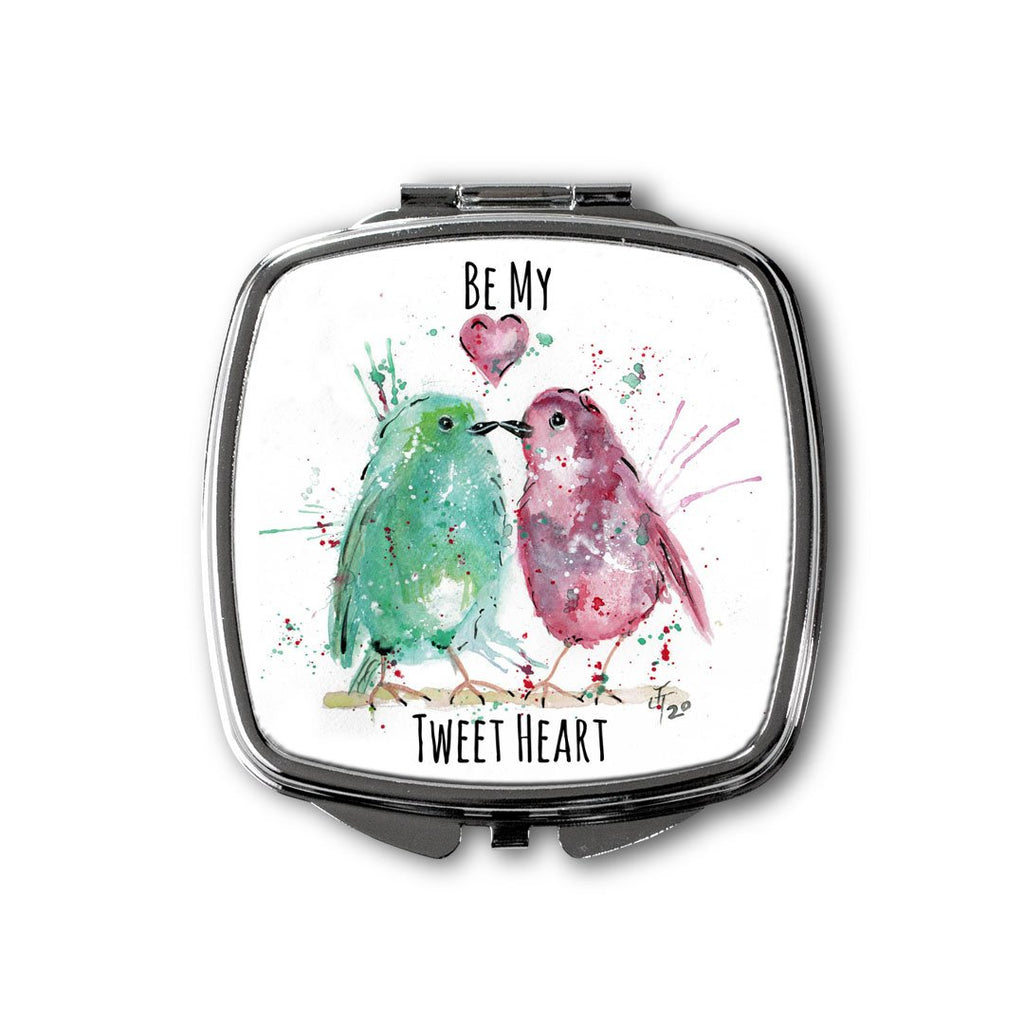 Be My Tweet Heart Square Compact Mirror