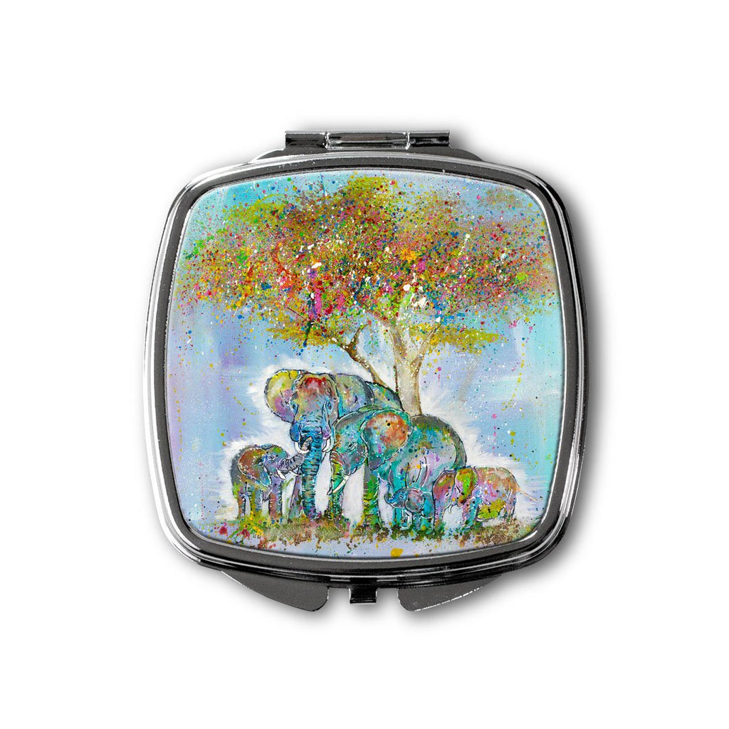 """Blessed"" Elephants Square Compact Mirror"