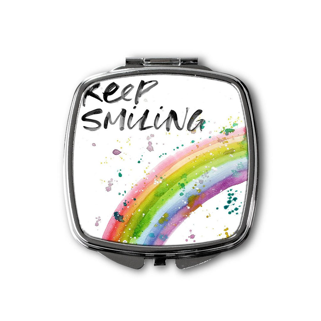 """Keep Smiling"" Rainbow Square Compact Mirror"