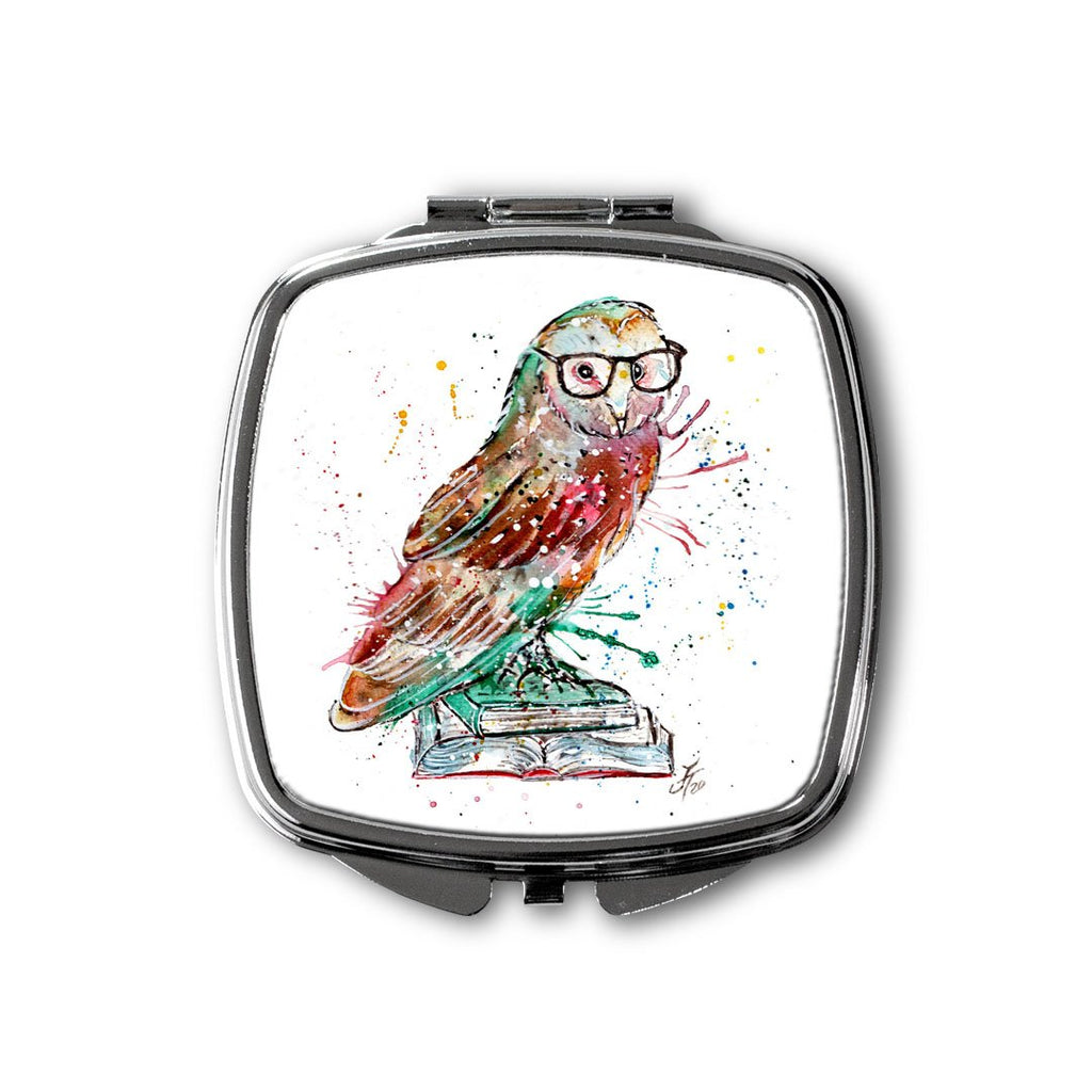 """Knowledge"" Owl Square Compact Mirror"