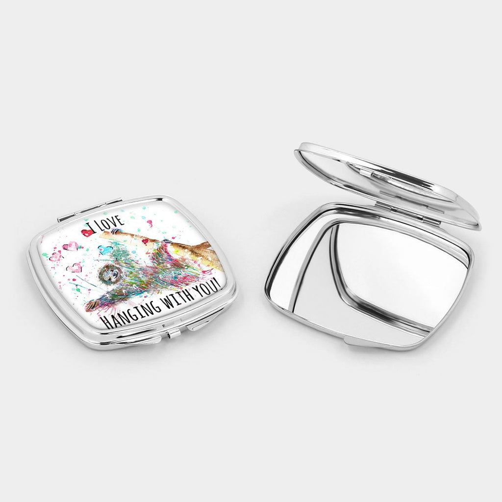 """I Love Hanging With You"" Sloth Square Compact Mirror"