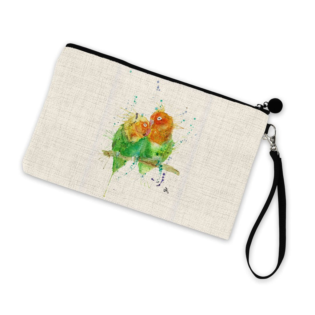 Love Birds Linen Cosmetic Bag