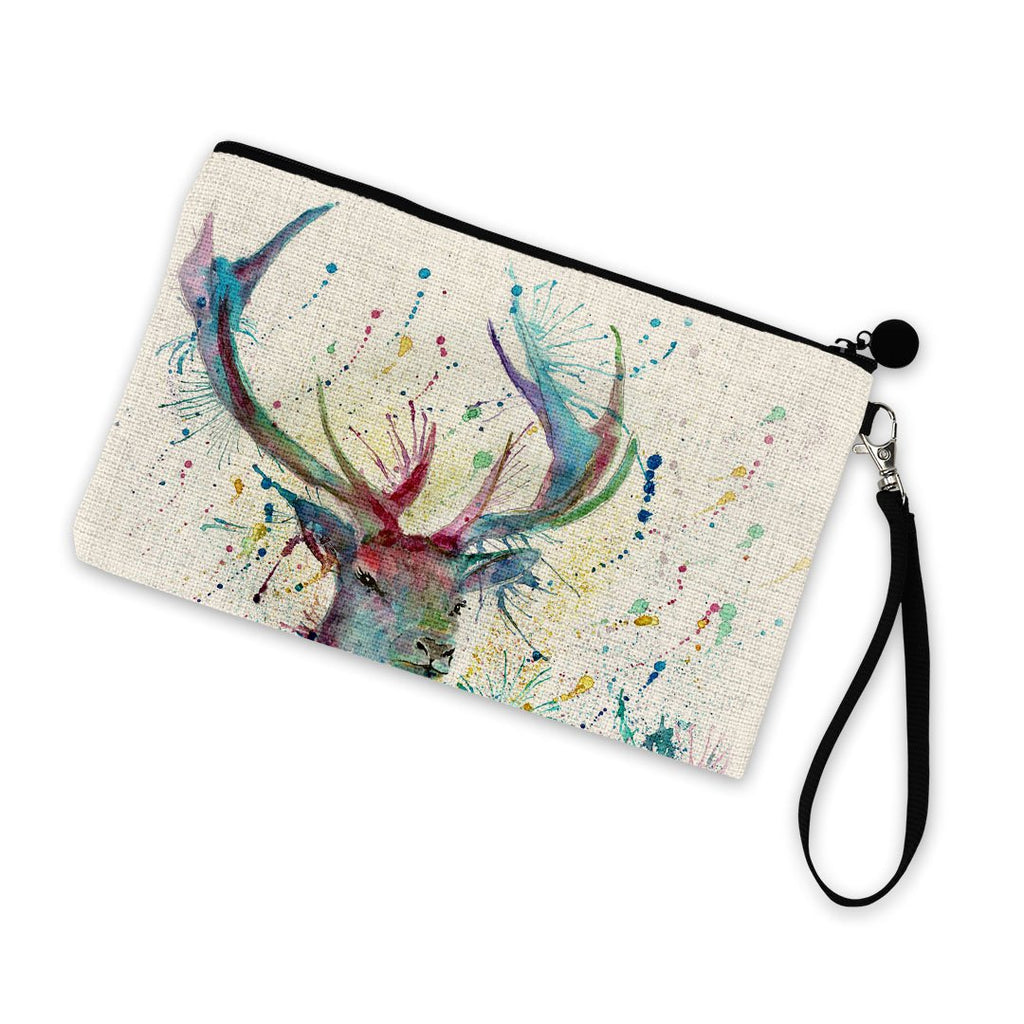 """Proud"" Stag Linen Cosmetic Bag"