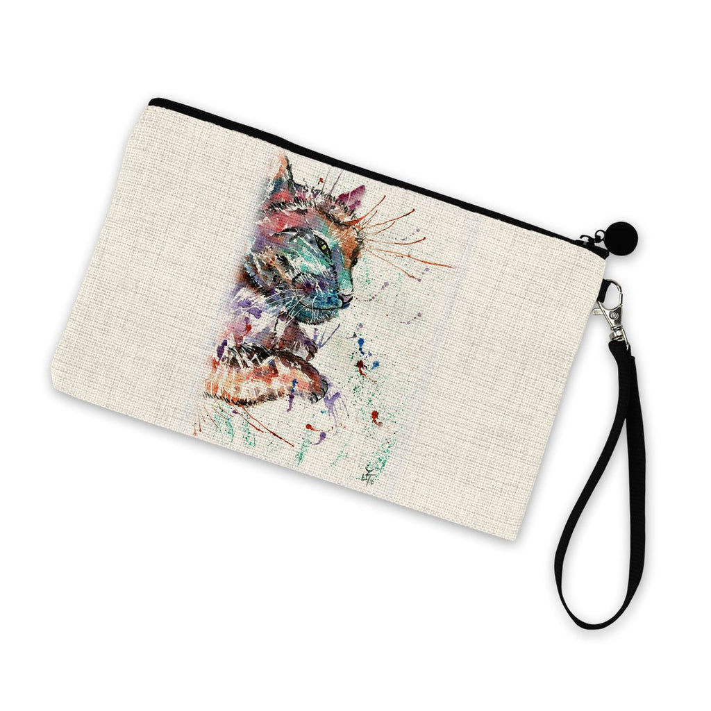 """Dave"" Cat Linen Cosmetic Bag"
