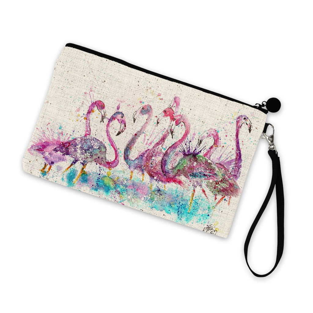 """Flamboyance"" Flamingos Linen Cosmetic Bag"