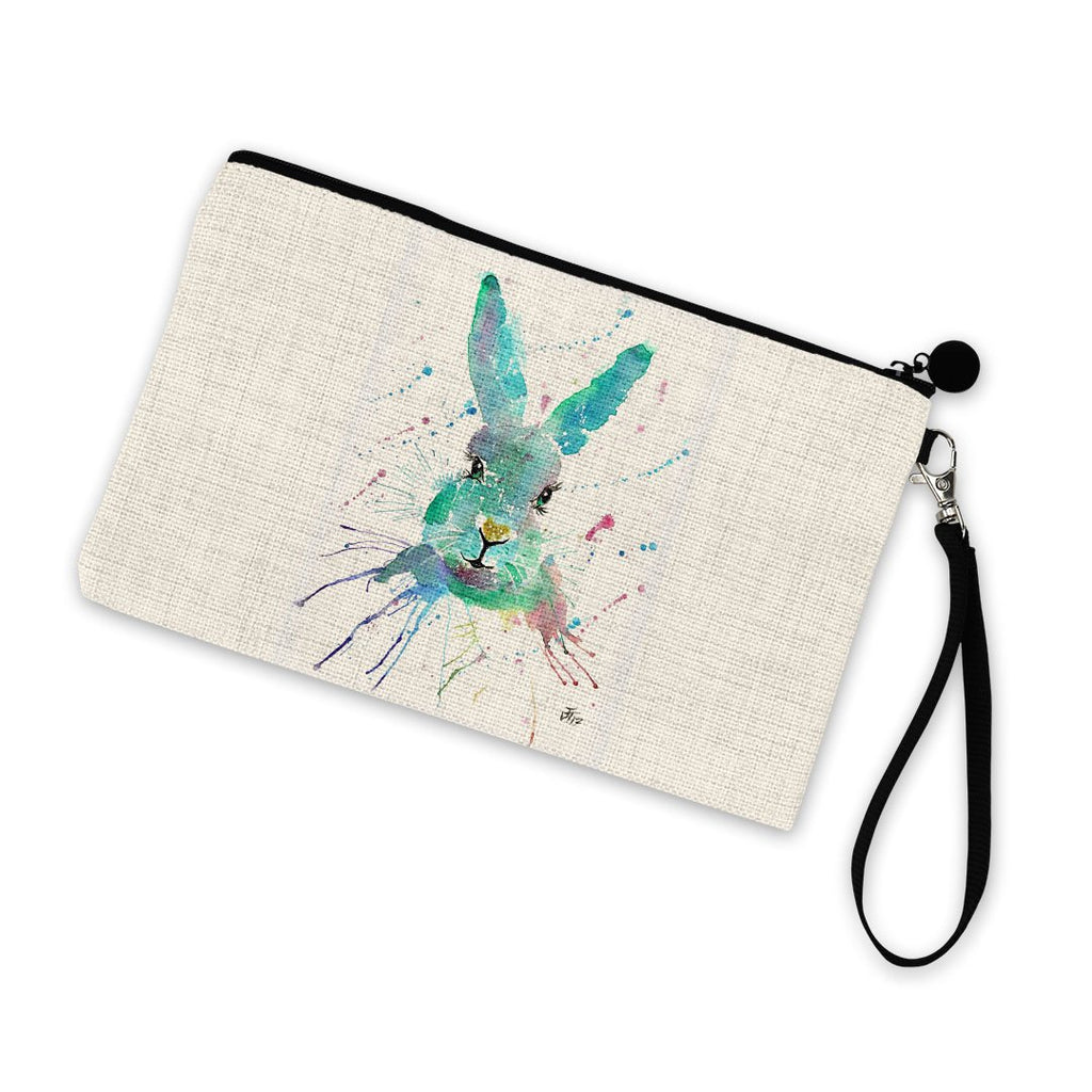 """Minty"" Hare Linen Cosmetic Bag"