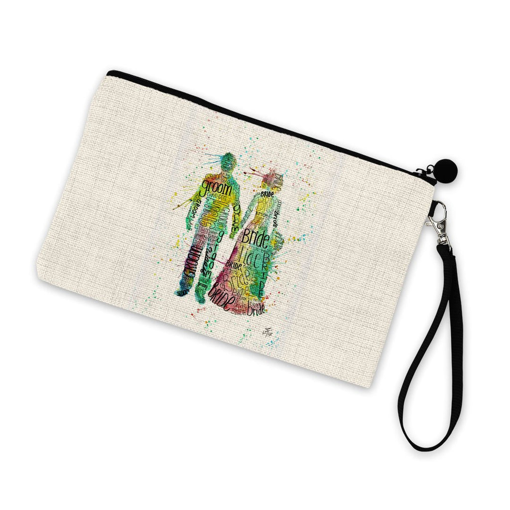 Bride & Groom Linen Cosmetic Bag