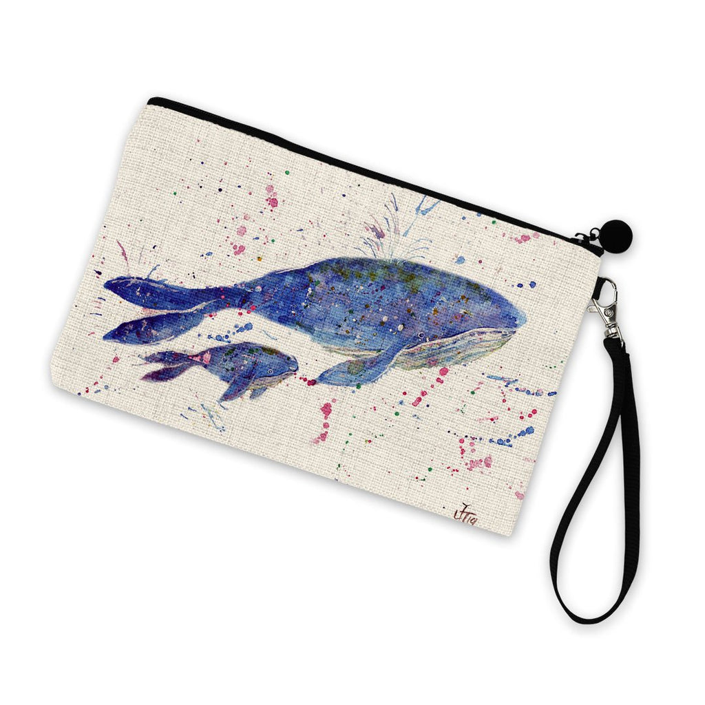 Berta & Baby Whale Linen Cosmetic Bag