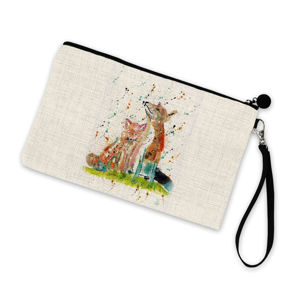 """Always Us"" Foxes Linen Cosmetic Bag"