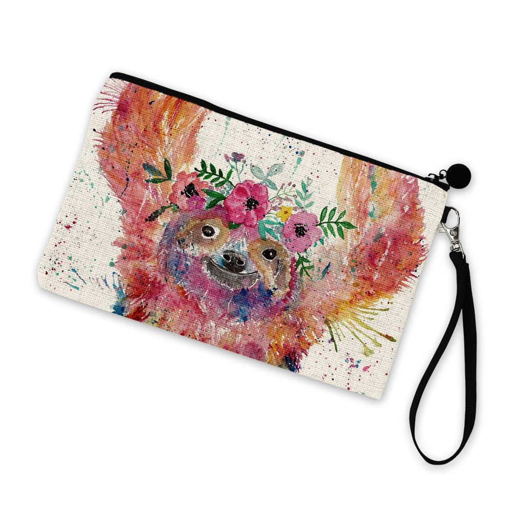 Hey Mrs Sloth Linen Cosmetic Bag