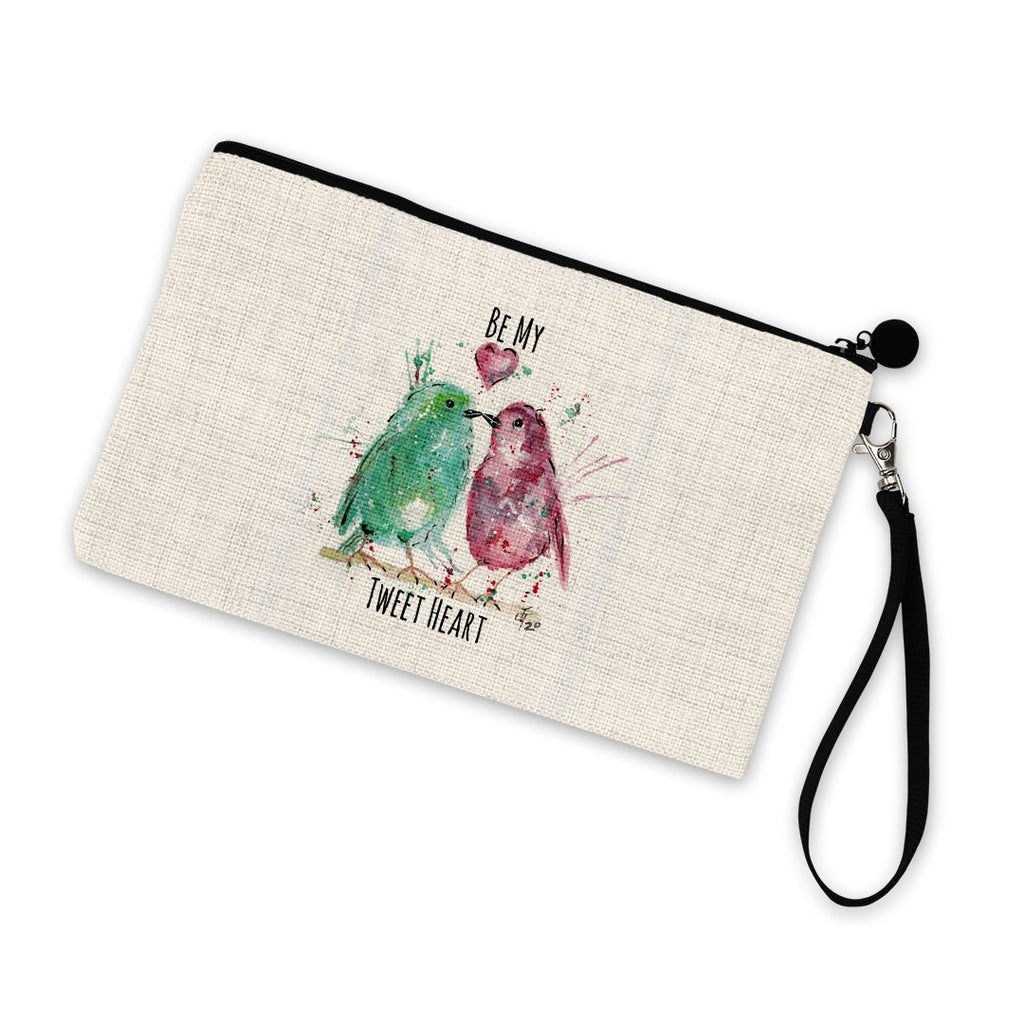 Be My Tweet Heart Linen Cosmetic Bag
