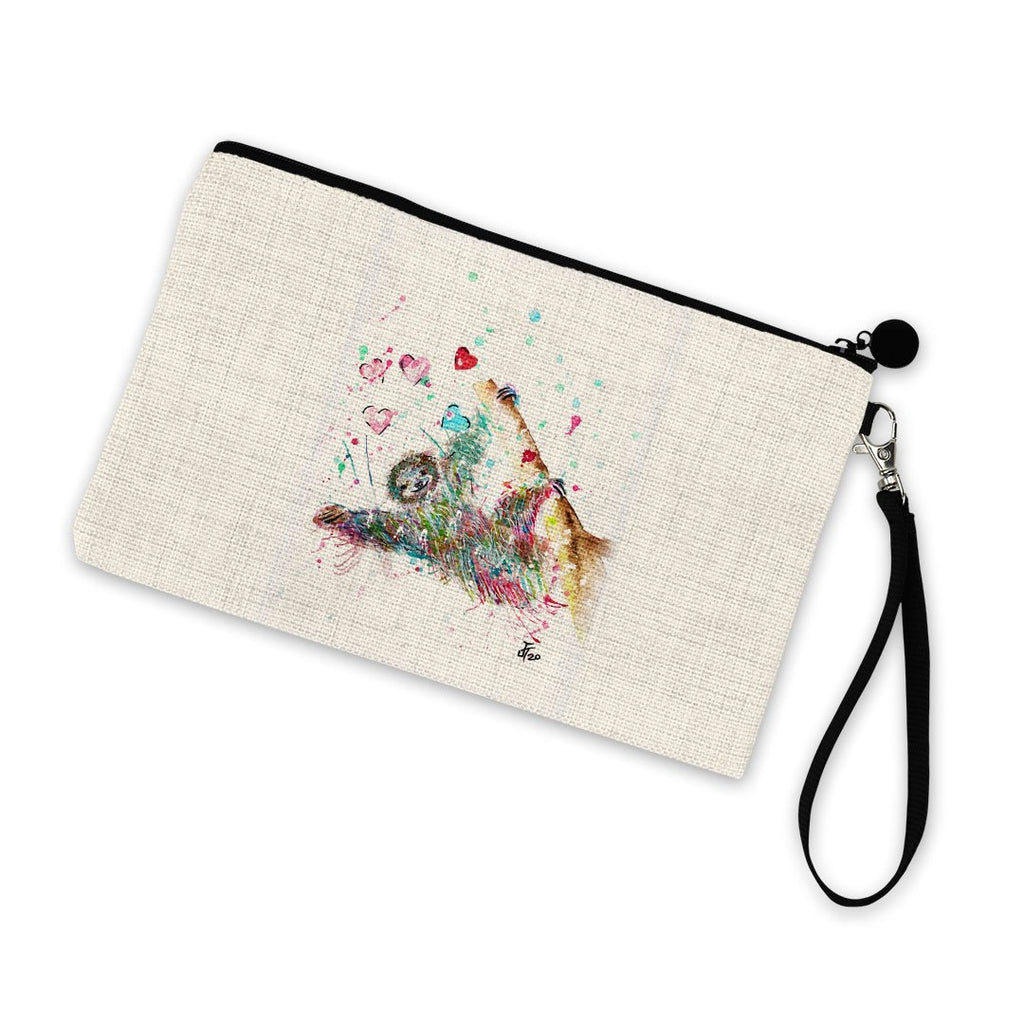 """Hang With Me"" Sloth Linen Cosmetic Bag"
