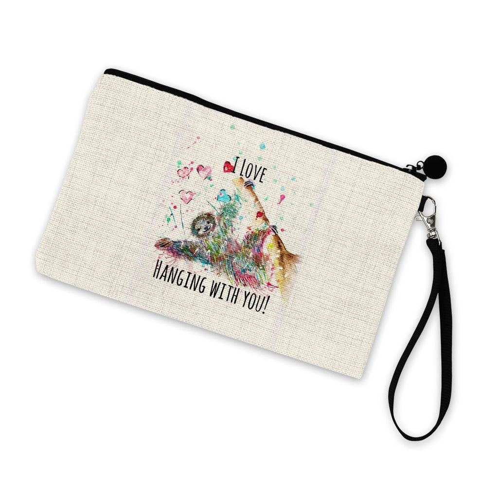 """I Love Hanging With You"" Sloth Linen Cosmetic Bag"
