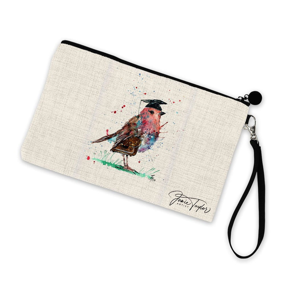 """Teach"" Robin Linen Cosmetic Bag"